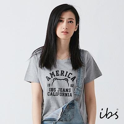 ibs美式小熊框線T恤-灰-女