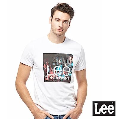 Lee 繽紛雨天照片印刷短袖圓領TEE-男款-白