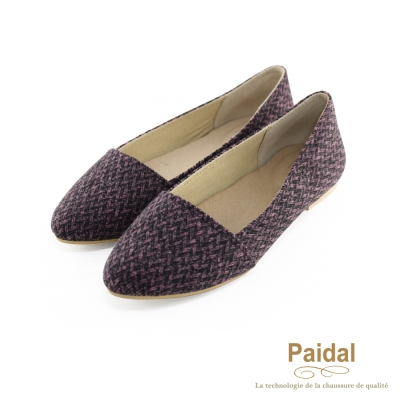 paidal-毛線編織優雅款尖頭包鞋-葡萄紅