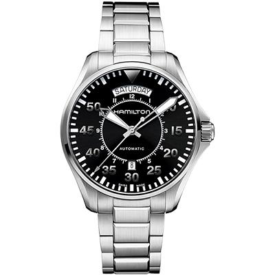 Hamilton KHAKI PILOT 系列星際效應機械錶-黑x銀/42mm