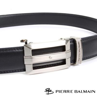 PB-皮爾帕門-經典方框簍空Logo霧銀款-頭層牛皮自動扣皮帶-855