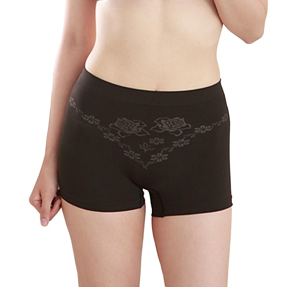 女內褲 極品竹炭無縫中腰平口褲/黑(超值6入) 源之氣