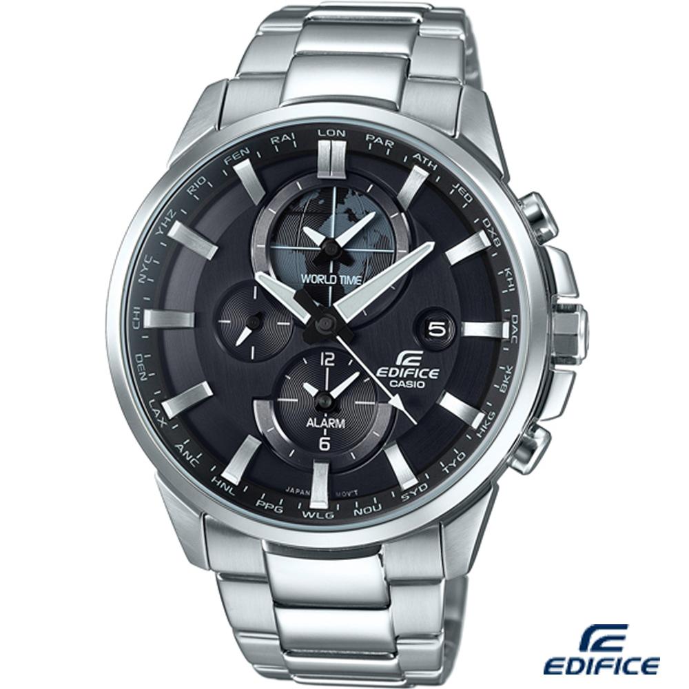 EDIFICE 新世界地圖鬧鈴錶(ETD-310D-1A)-黑/45.3mm