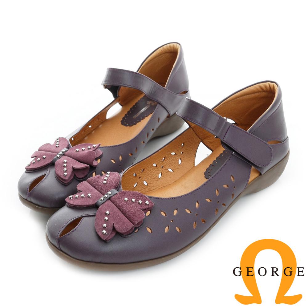 GEORGE喬治皮鞋-蝴蝶鉚釘沖孔魔鬼沾舒適柔軟真皮低跟鞋-紫色