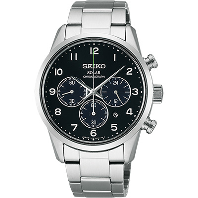 SEIKO SPIRIT 太陽能時尚計時腕錶(SBPY137J)-黑/39mm