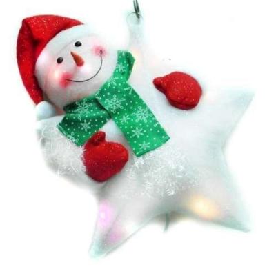 聖誕LED燈25燈雪人抱星星造型燈吊飾SCL-49(插電式-自動閃爍變換光色)