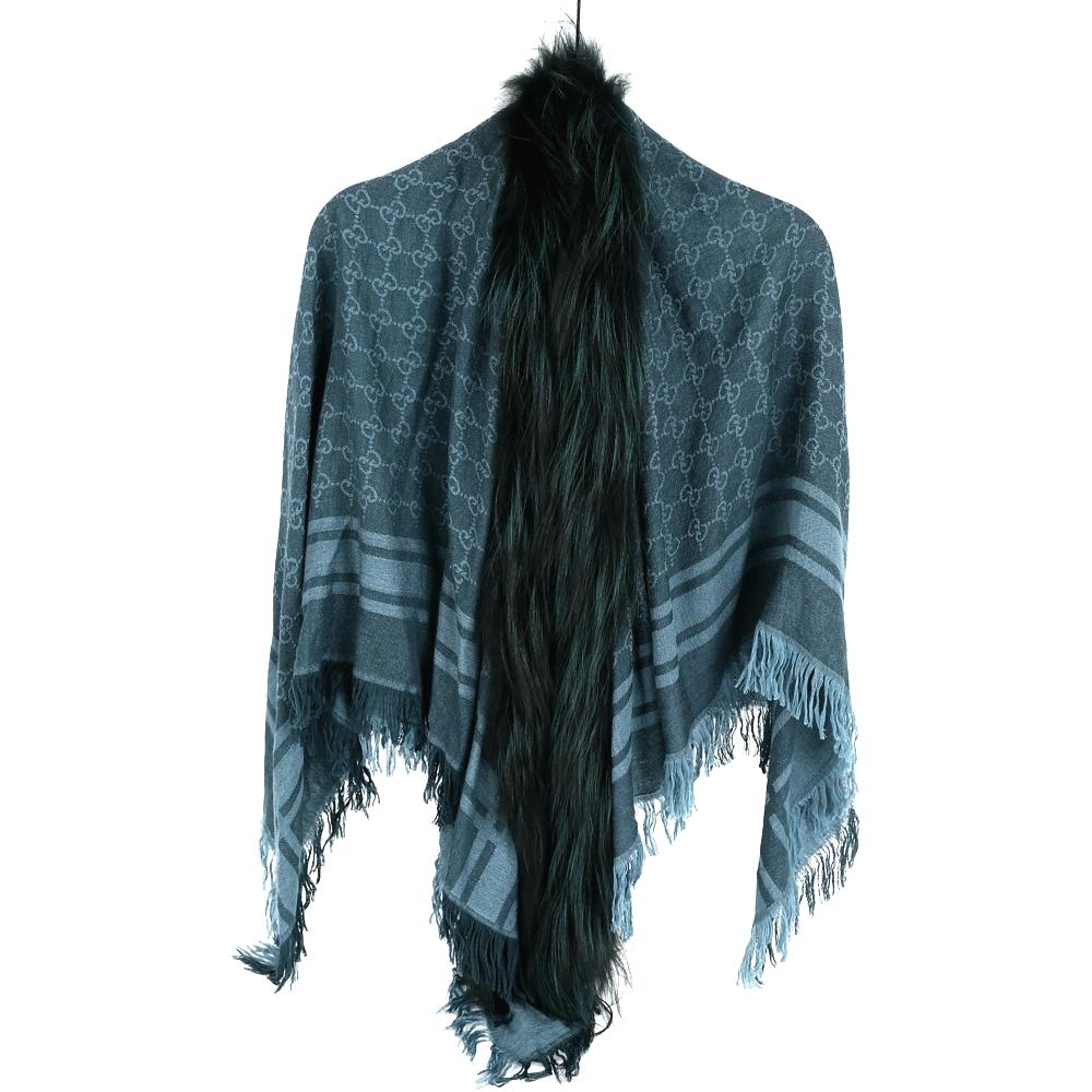 GUCCI 藍綠色雙G織紋狐狸皮草飾邊披肩(70%WOOL)GUCCI