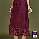 ILEY伊蕾 花朵縷空蕾絲修身長版窄裙(紅)