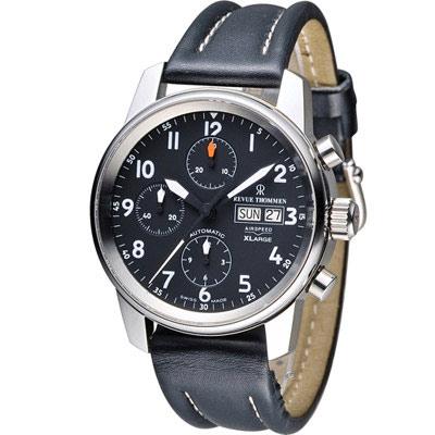 梭曼 Revue Thommen AIRSPEED系列X-Large機械腕錶-黑色/41m