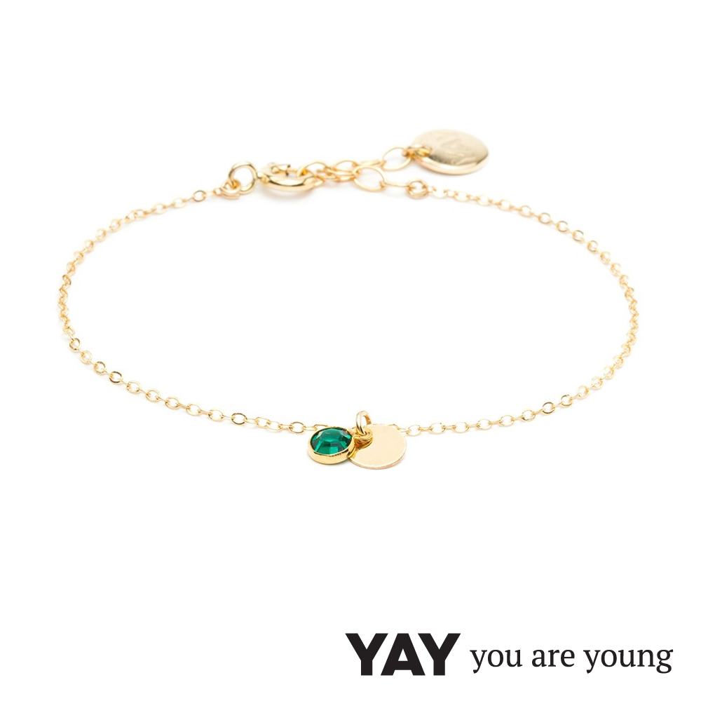 YAY You Are Young 法國品牌 Sultane 綠水晶手鍊 金色