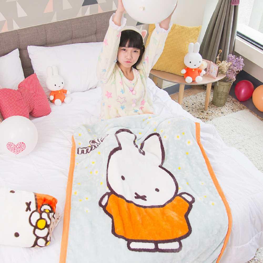 Miffy開心米菲 頂級加厚法蘭絨休閒毯