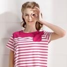 羅絲美睡衣 - 奇幻旅行短袖洋裝睡衣小口袋款(活力粉)