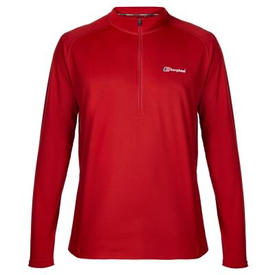 【Berghaus 貝豪斯】男款銀離子除臭抗菌抗UV長袖上衣S15M03紅/紅