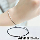 AnnaSofia 纖細微笑幸運繩 925純銀墜手環手鍊(黑繩系)