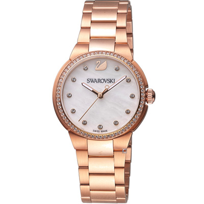 SWAROVSKI 施華洛世奇 City Mini 迷人時尚腕錶-玫瑰金色/32mm
