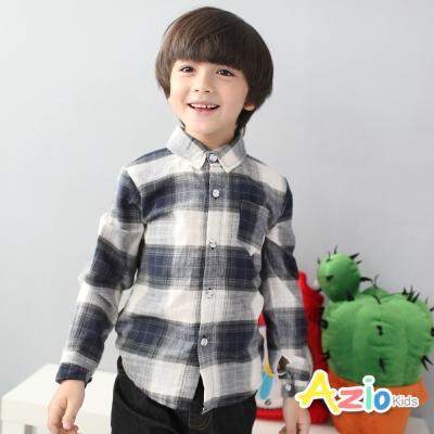 Azio Kids 童裝-襯衫 藍白格紋單口袋長袖襯衫(藍)