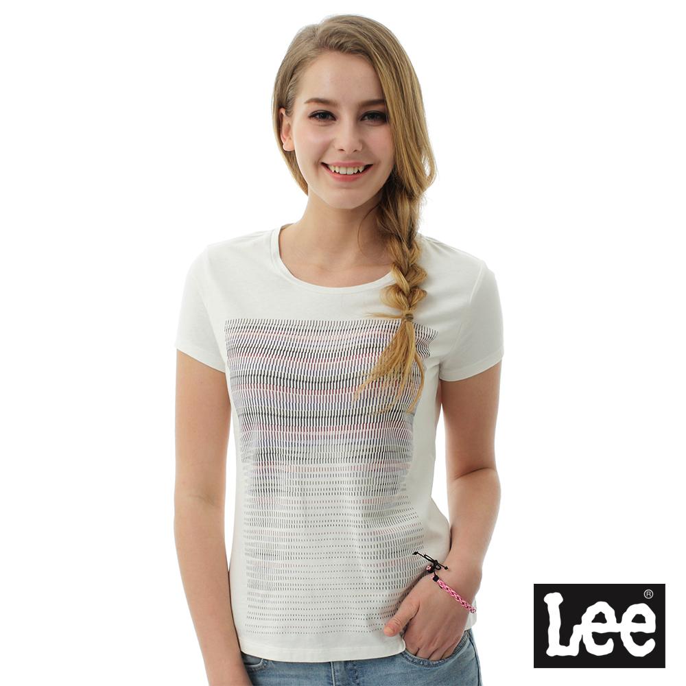 Lee 彩色漸層色彩短袖圓領TEE/BO-女款-白