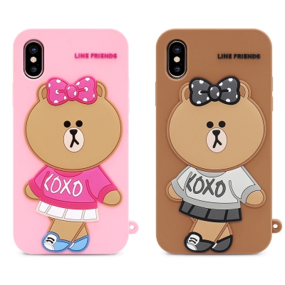 GARMMA LINE Friends 熊美 iPhone X-立體矽膠果凍套