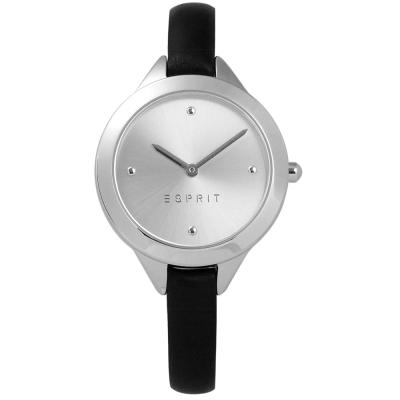 ESPRIT 簡約典雅圓珠細緻真皮女錶-銀x黑/32mm