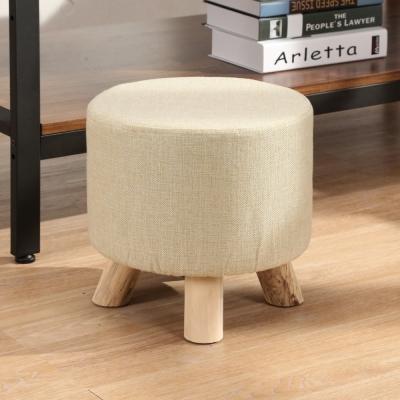邏爵LOGIS-迷你小胖凳-實木四腳圓椅-棉麻布套
