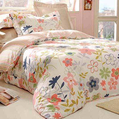 義大利Fancy Belle 葉語漫飛 加大四件式防蹣抗菌舖棉兩用被床包組