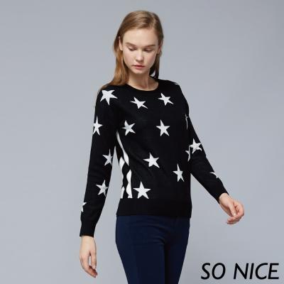 SO NICE時尚星星針織上衣