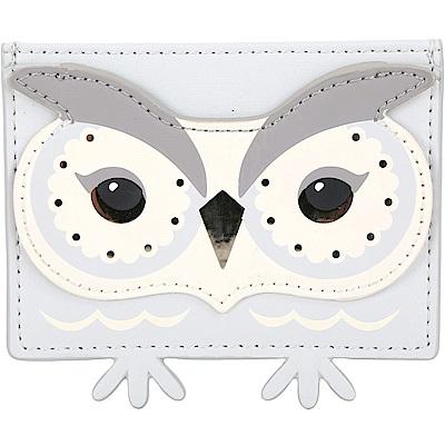 Kate Spade owl 貓頭鷹造型萬用卡片夾(淺灰色)