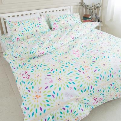 米夢家居-台灣製造-100%精梳純棉印花床包+單人兩用被套三件組-萬花筒-單人3.5尺