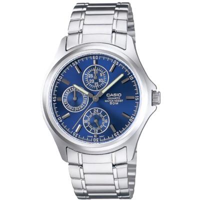 CASIO 完美世代三眼指針錶(MTP-1246D-2A)-藍