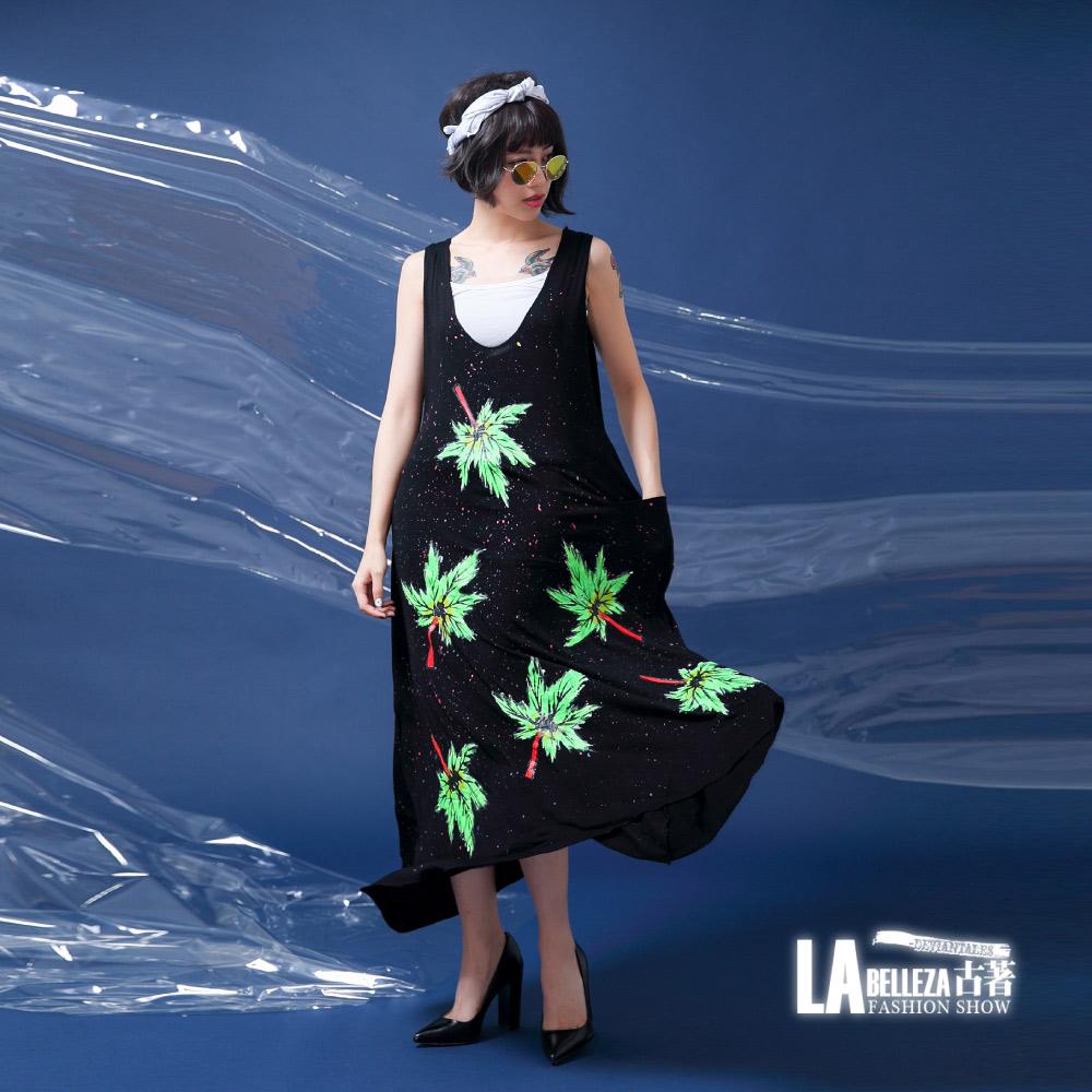 古著 綠色楓葉彩色潑墨側口袋U領背心棉洋裝