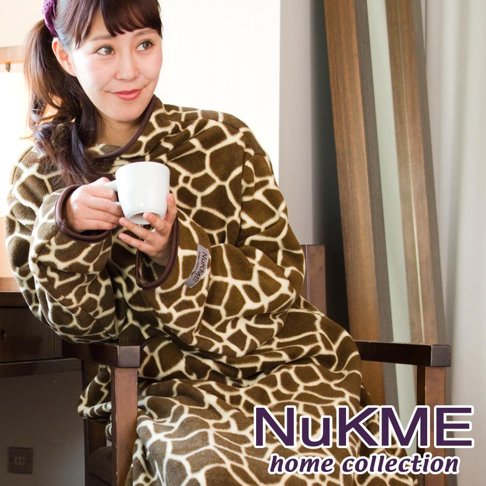 棉花田【NuKME】時尚多功能創意印花袖毯-深色長頸鹿
