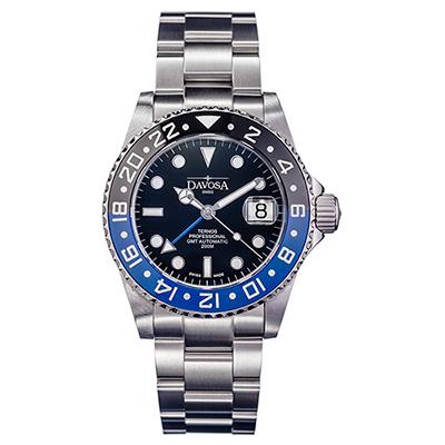 DAVOSA Ternos TT GMT 雙色雙時區陶瓷圈200M潛水錶-藍黑/42mm