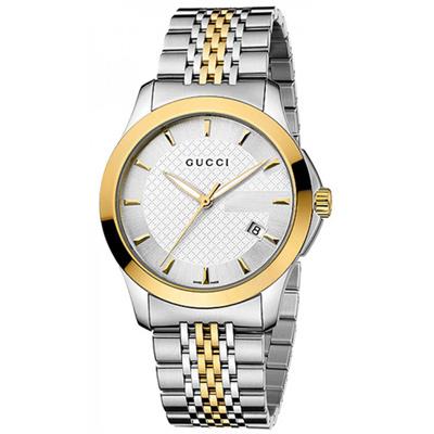 GUCCI 古馳 G-Timeless 菱格紋時尚腕錶-銀x雙色/38mm