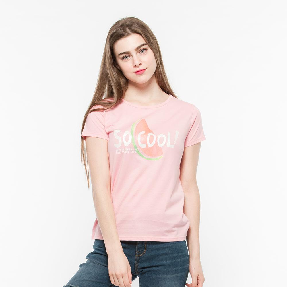 Hang Ten - 女裝 - 有機棉 酷涼西瓜印圖T-Shirt - 紅