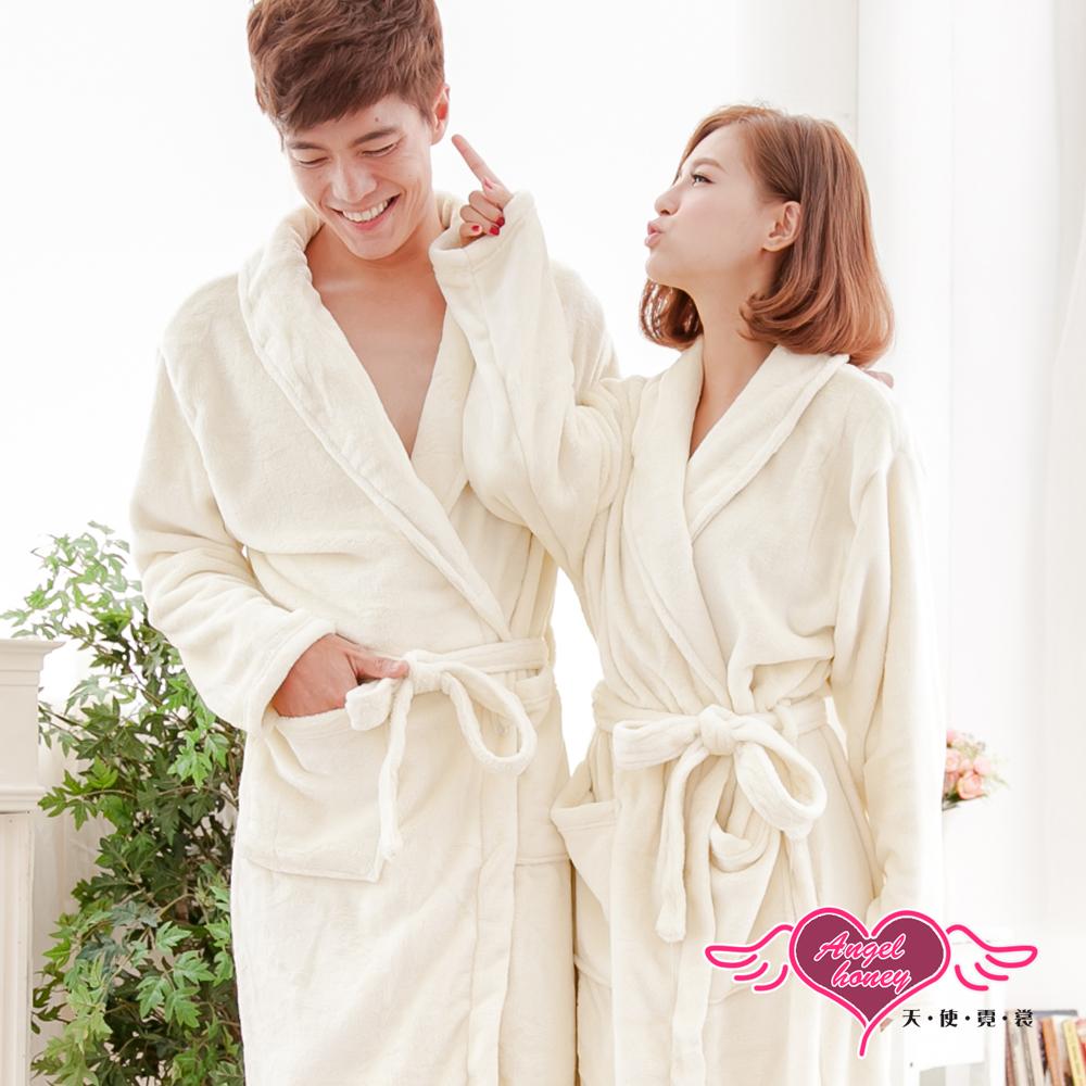 天使霓裳 浪漫純粹 甜蜜滿分情侶款珊瑚絨睡袍(白F)