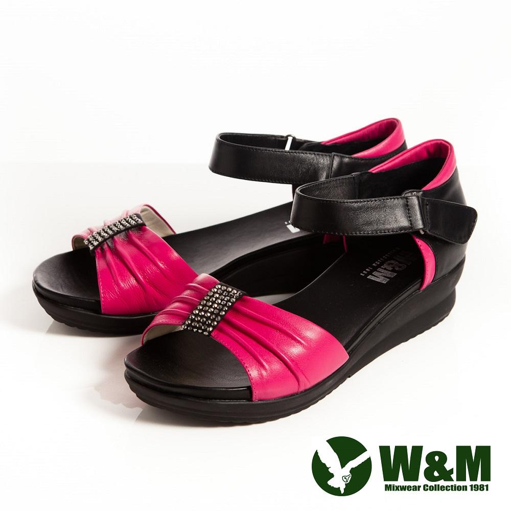 W&M 耀眼亮鑽 魔鬼氈淑女中低跟平底涼鞋-桃