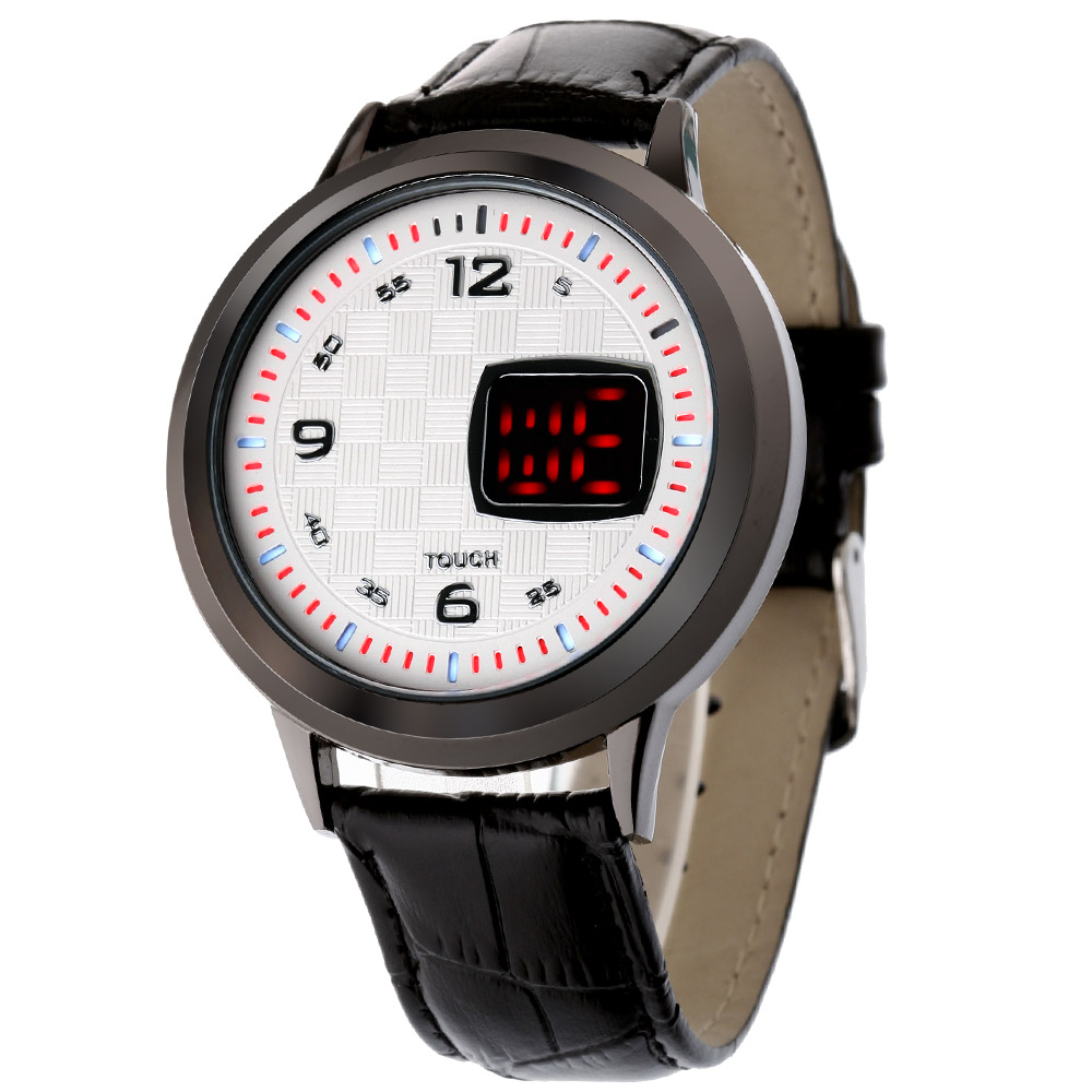 A1 交錯時空LED潮流電子錶-白/43mm