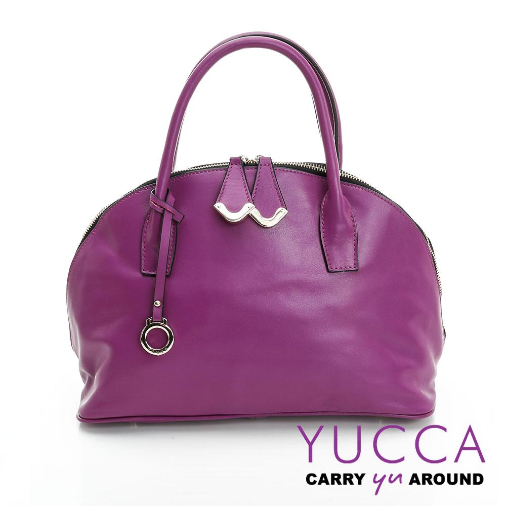 YUCCA摩登牛皮貝殼手提側肩背包-紫色-D0090062C60