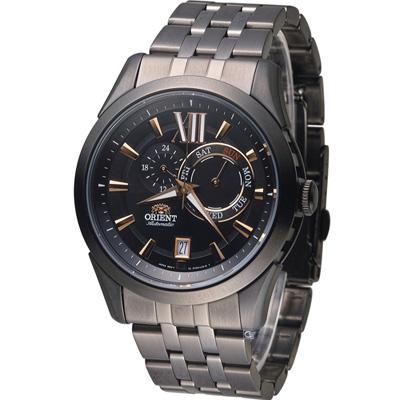 ORIENT 東方錶 大器星期日曆機械腕錶-黑/42mm