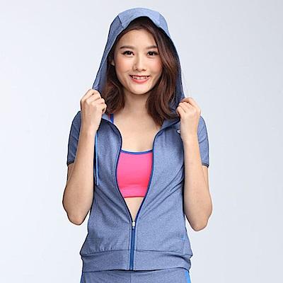 【TOP GIRL】運動針織連帽外套-麻花淺藍