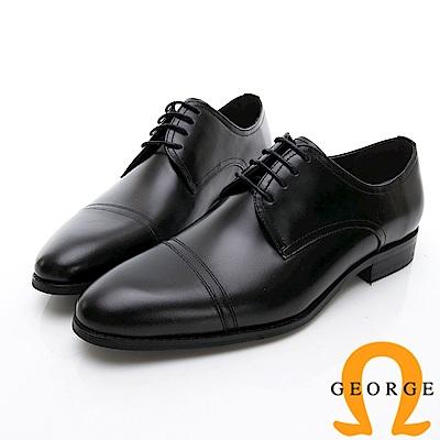 GEORGE 喬治-商務系列 真皮手工縫線紳士皮鞋-黑