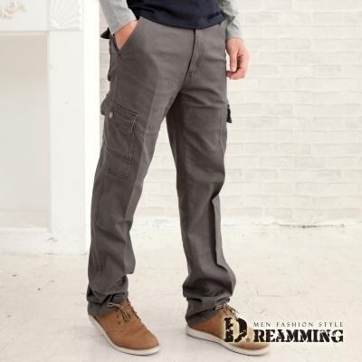 Dreamming 多口袋斜紋布伸縮休閒長褲-深灰