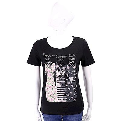 ANNA RACHELE 鑽貼貓咪圖騰黑色棉質T恤