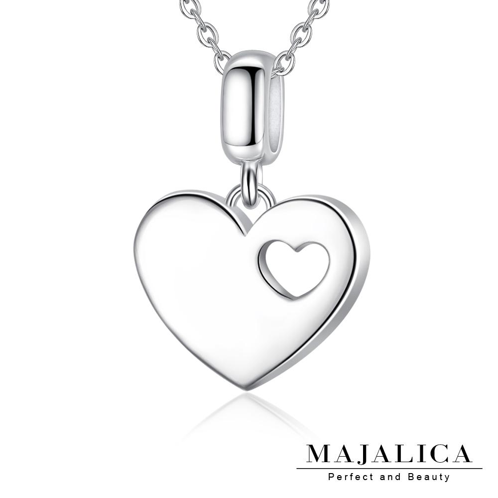 Majalica愛在心中愛心項鍊925純銀墜銀色女鍊