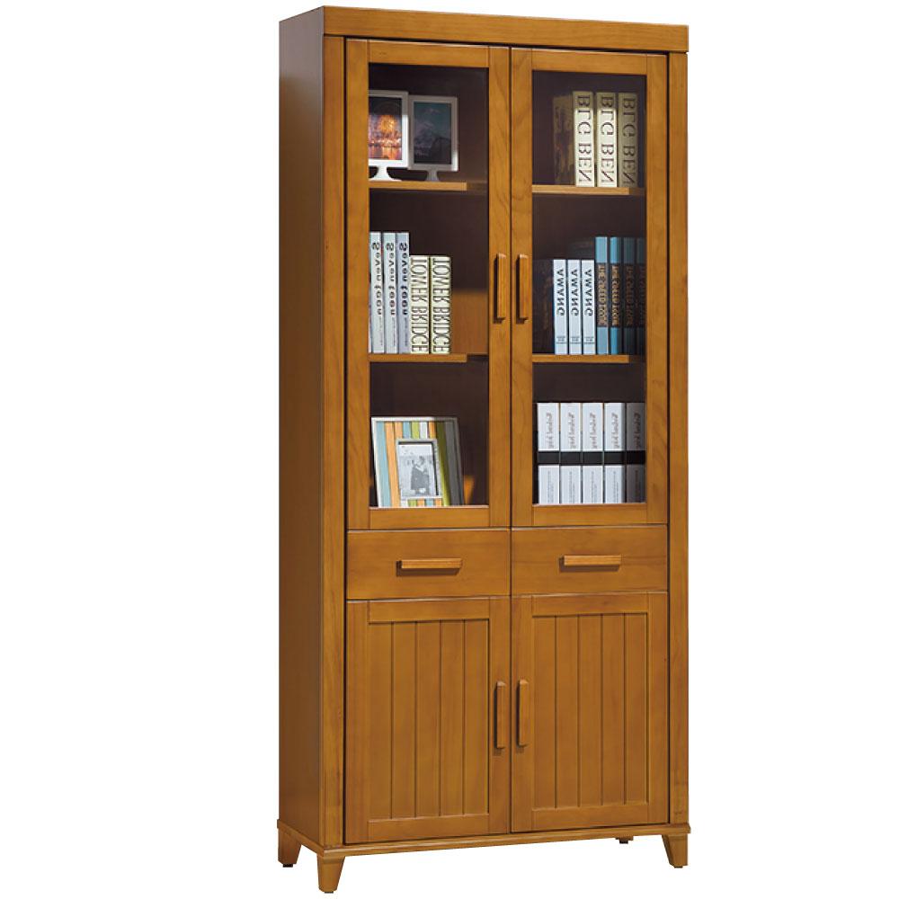 品家居 樂活 2.8尺實木中抽書櫃