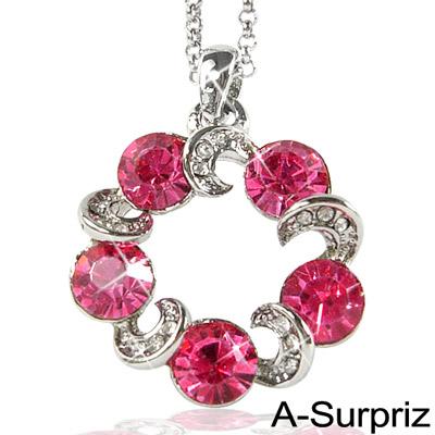 【A-Surpriz】繽紛摩天輪水晶項鍊(甜心桃)