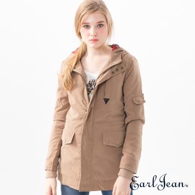 Earl-Jean-連帽鋪棉中長版外套-卡其-女