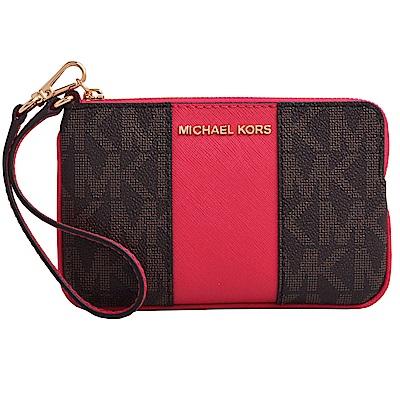 MICHAEL KORS CENTER金字滿版雙色防刮拉鍊手拿包-咖啡/唇紅