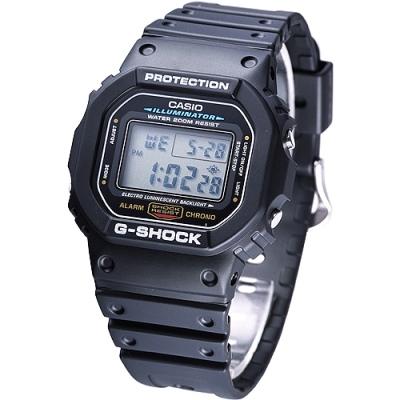 G-SHOCK 黑色運動電子錶(DW-5600E-1)-黑色/42.8mm