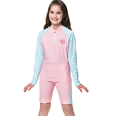 沙兒斯 兒童泳裝 長袖防曬兩件式中童泳裝